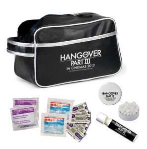 Toiletry Hangover Bag with Antiseptic Swabs, Aspirin, Lip Balm, Mints in Tin and Band-Aids